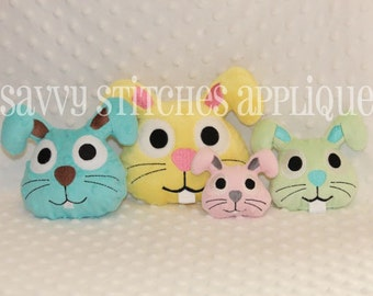 Bunny Head Plushie ITH Machine Embroidery Design