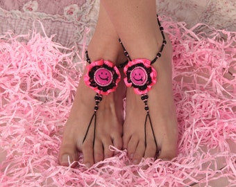 Funny smile anklets, Pink and black lace barefoot sandals, Crazy foot jewelry, Happy anklets :)