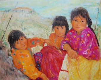 Three Tarahumara in the Shade  24 x 30