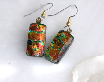 Earrings Red Drop Dangle Dichroic Fused Glass Earrings Jewelry E-0123