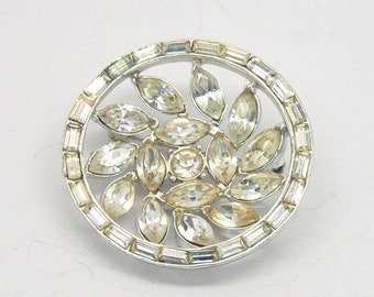 SALE! 30% OFF! High Quality Vintage 3D Clear Baguette Rhinestone Flower Circle Brooch