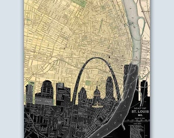 St Louis Skyline, St Louis Map, St Louis Art Print, St Louis Wall Art, Personalized Skyline Print, St Louis Decor, Wedding Gift