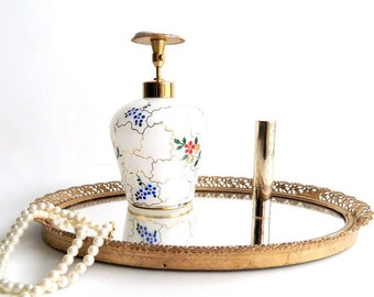 """Vintage Translucent White Milk Glass Perfume Bottle Atomizer - Hand Painted Red & Blue Floral Design - West Germany - 5 1/4"""" High"""