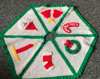 Retro vintage Christmas tree skirt crocheted santa wreath stocking candle bells candy cane Handmade