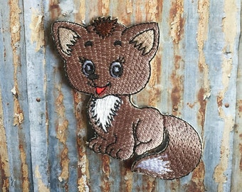 Brown Fox Cub Animal Baby Cartoon Kids Embroidered Iron On Or Sew On Patch