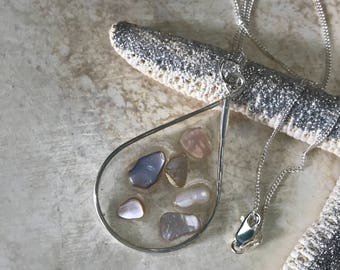 Seashell Teardrop Necklace- Clear Resin Necklace with Mother of Pearl Shells