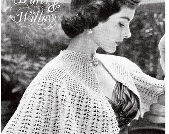 1950s Crocheted Romantic Evening Capelet vintage pattern 6 pages DIGITAL Instant Download PDF evening romance classic style
