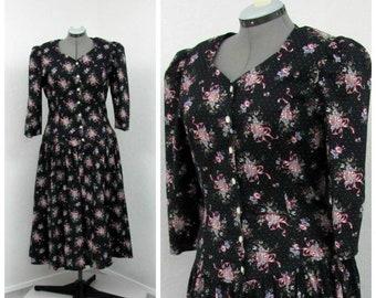 Vintage 80s Black Cotton Floral Dress, Polka Dot Dress, Midi Dress, Puff Sleeve Dress, Summer Dress, Tea Length Dress, Spring Dress