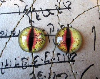 Pair of Taxidermy Glass Dragon, Cat, Monster Craft Eyes, Yellow 10mm, 14mm, 16mm