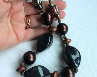 Necklace - bronze and grey beaded necklace