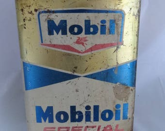 USA MOBIL OIL, Mobiloil Tin Empty Can, Special Oil Automotive Engines, Big Tin Can Container, Empty 1Gallon, Vintage 1970 Tin Oil Container