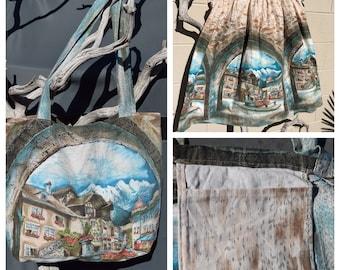 Upcycled Swiss Village Print Market Bag
