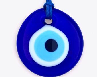 """Good Luck Bead - Evil Eye Talisman - Blue Glass - 2 1/8"""""""