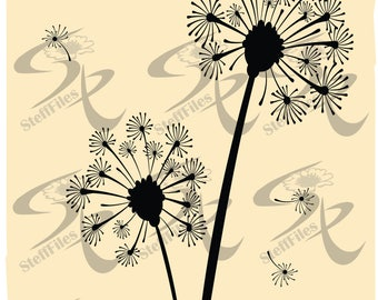 Vector DANDELION, Flowers, dandelion,SVG,DXF,ai, png, eps, jpg Silhouette,Download files, Digital, graphical
