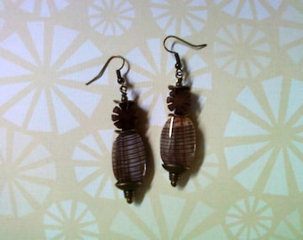 Brown Seashell and Buri Nut Earrings (2066)