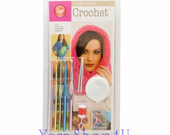 SALE! Learn Crochet Kit. I taught myself Crochet by Boye with Boye crochet hooks, instruction book and accessories. Learn to crochet set