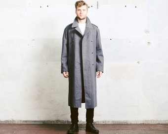 Grey Wool Greatcoat . Vintage Military WOOL Coat 1970s Swedish Army Overcoat Army 70s Officers Jacket Double Breasted Military . size Medium