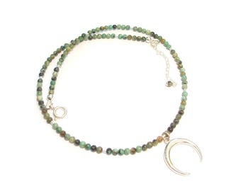 Green Turquoise and half moon - stone pendant necklace and Sterling Silver 925