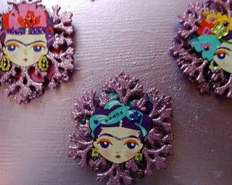 Frida Kahlo snowflake Christmas decorations - frida sparkley hanging snowflake decor - frida Kahlo secret Santa - frida lovers stocking gift