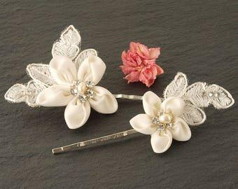 White Flower Wedding Hair Clip | Lace Flower Hair Clip | Floral Hair Clip | Vintage Style Wedding Hair Grip | Bridal Hair Grip | Bridesmaid