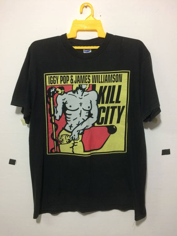 Vintage 90's iggy pop and james williamson KILL CITY band tee adult Large size by cygnus Ntpqf310E1