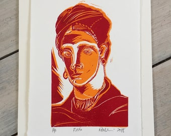 Frida Kahlo  - linocut print  (red & orange)