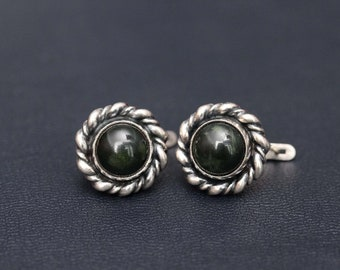 Sterling silver natural nephrite (jade) earrings
