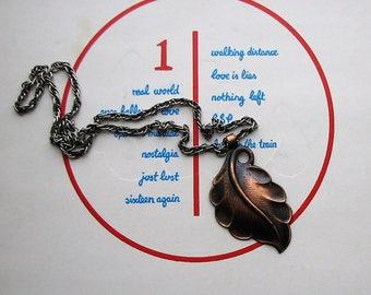 vintage copper leaf necklace . large pendant necklace, southwest jewelry