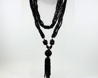 Vintage Art Nouveau Style (1890-1910) Black Onyx and Wood Beaded Necklace