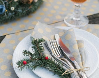 Gold napkins, Gold polka dot napkins, Natural linen napkins with gold dots, Luxury napkins for wedding, Gift for her