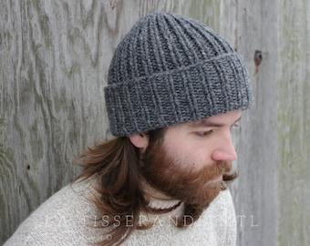 Man beanie, men beanie , mens beanie , cuffed beanie, wool beanie, knit beanie  // The Ribbed Beanie | Charcoal