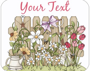 Custom, personalized mouse pad -Garden - Add your own text
