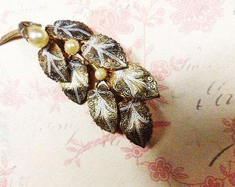 """Vintage Damascene Silver, Gold and Black Brooch Signed """"SPAIN"""" - BR-381 - Damascene Brooch - Spain Damascene Pin - Brooch Signed Spain"""