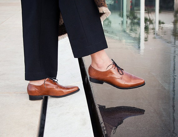 Camel Leather Flat Shoes Shoes Oxfords Handmade Shoes Leather Shoes Up Women Brown Shoes Oxford Shoes Brown Lace axn4qw