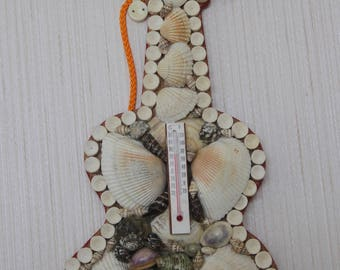 1980s Seashell Framed Souvenir Guitar Thermometer