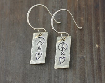Gold Peace and Love Earrings, Brass Hammered Rectangle Earrings, on Hand Made Ear Wires, Brass, Gold Fill, or Sterling Silver