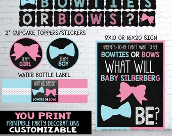Bowties or Bows Gender Reveal Party Decorations Pack