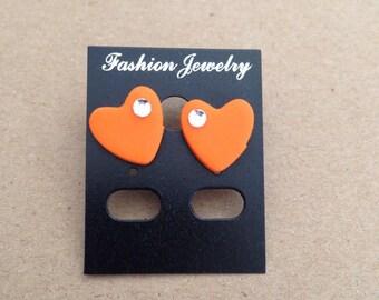 Polymer clay orange heart earrings
