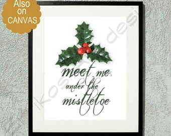 Christmas Mistletoe Art Print, Christmas Wall Decor, Christmas Gift, Christmas Decoration, Home Decor, Christmas Art, Mistletoe painting