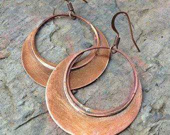 Copper Jewelry Earrings, Copper Hoop Earrings, Copper Dangle Hoop Earrings, 7th Anniversary Gift, Copper Jewelry,