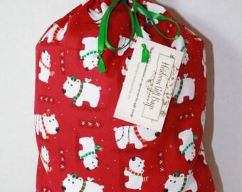 Cloth Gift Bags Fabric Gift bags Medium Christmas Bags Polar Bears wearing Christmas Scarfs