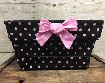 Black with Pink Polka Dots Basket Liner