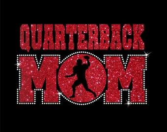 Women's Glitter and Rhinestone Quarterback Mom Shirt