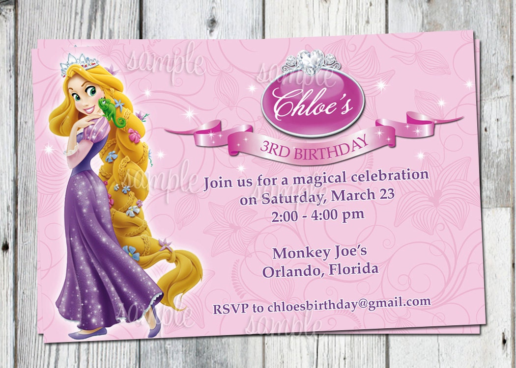 tangled birthday invitation printable rapunzel personalized