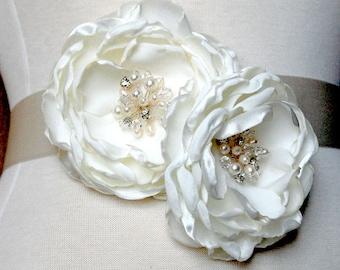 Wedding Sash Flowers, Large Sash Flower, Bridal Sash Accessories, Wedding Accessories - Hair Flower Set  - Brooch - In Off White or Ivory