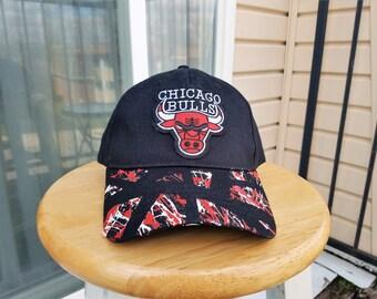 Bulls Hat, Chicago Bulls, Black Hat, Low-Profile Hat, Sports Hat, Basketball Hat, Customized Hat