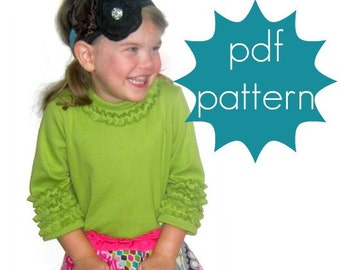Ruffle Tee - PDF Sewing Pattern -nb-5t or 6-14 and doll/preemie