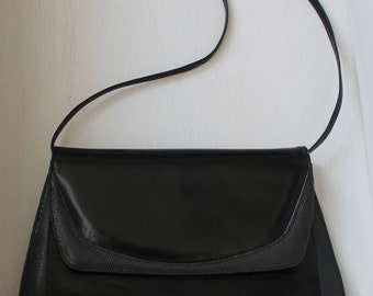 Black leather Vintage Purse / Black Leather Bag Vintage Fabio Styled in Italy / Handbag black leather vintage / Classy black shoulder bag