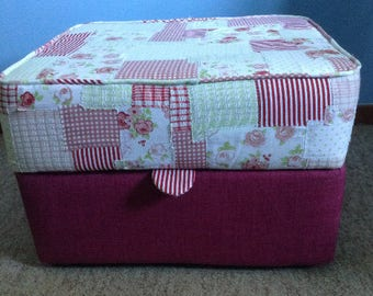 Handmade upcyled pouffe/footstool patchwork cover in hues of pink and green. Opening for storage