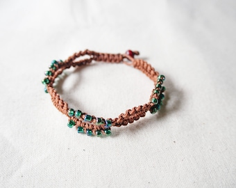 Seedbead Woven Bracelet, Beaded Knotted Friendship Bracelet